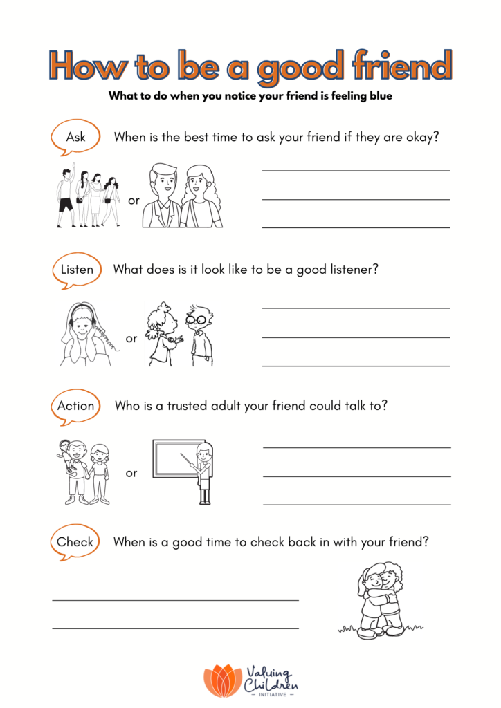 How to be a good friend worksheet